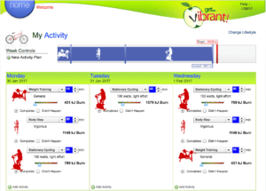 custom software design client Get Vibrant! activity page