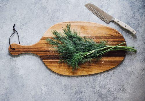 herbs on chopping board